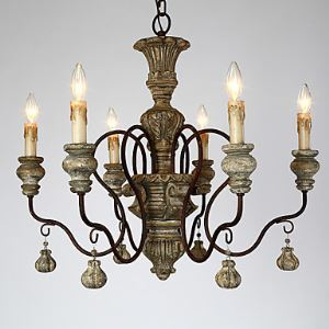 America Style Vintage Country Wood Made Work Chandelier Lamp Woodern Lamp for 6 Candle