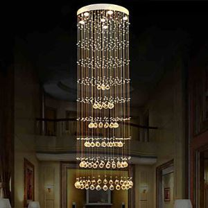 Modern LED Crystal Ceiling Pendant Lights Chandeliers Lighting Lamps Fixtures with D60CM H180CM Energy Saving
