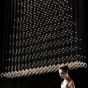 K9 LED Crystal Pendant Light Hanging Wire Chandeliers Lighting Ceiling Lamps For Indoor H80CM CE FCC UL Energy Saving