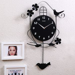 Contemporary Simple Wrought Iron Little Bird Mute Wall Clock Non-ticking