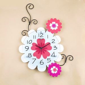 Modern Pastoral Style Wrought Iron Mute Flower Wall Clock Non-ticking