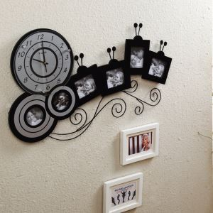 Modern Simple Wrought Iron Creative Mute Frame Wall Clock Non-ticking