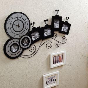 Modern Simple Wrought Iron Creative Mute Frame Wall Clock Non-ticking