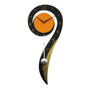 Contemporary Simple Creative Wrought Iron Mute Pendulum Clock Non-ticking