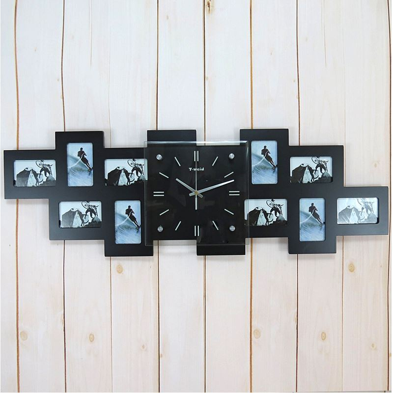 modern simple wall clock glass frame creative mute wall clock non ticking. Black Bedroom Furniture Sets. Home Design Ideas