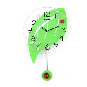 Modern Simple Glass Leaf Kids' Clock Mute Non-ticking Wall Clock