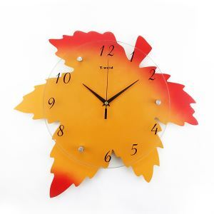 Contemporary Simple Cartoon Glass Maple leaf Mute Wall Clock Non-ticking