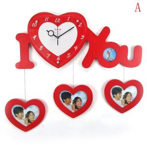 Contemporary Simple Wooden Heart-Shaped Love Frame Mute Wall Clock