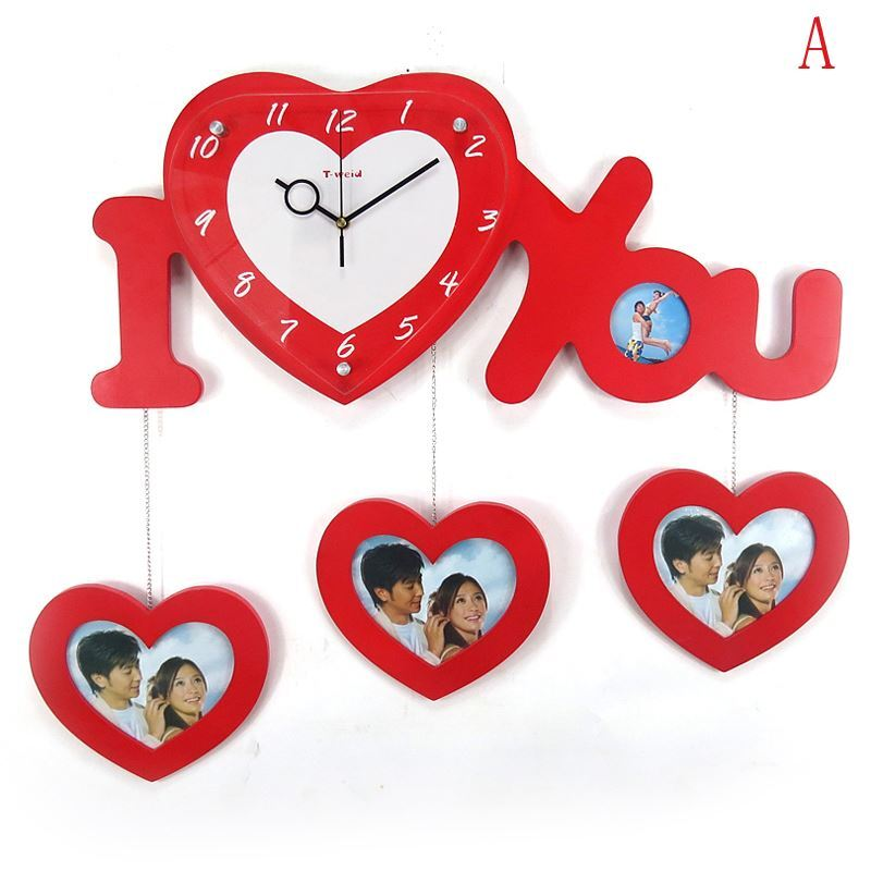 contemporary simple wooden heart shaped love frame mute wall clock