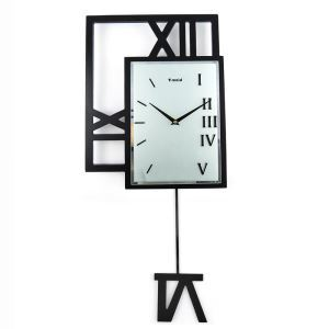 Contemporary Simple Wooden Black Pendulum Clock Mute Non-ticking Wall Clock