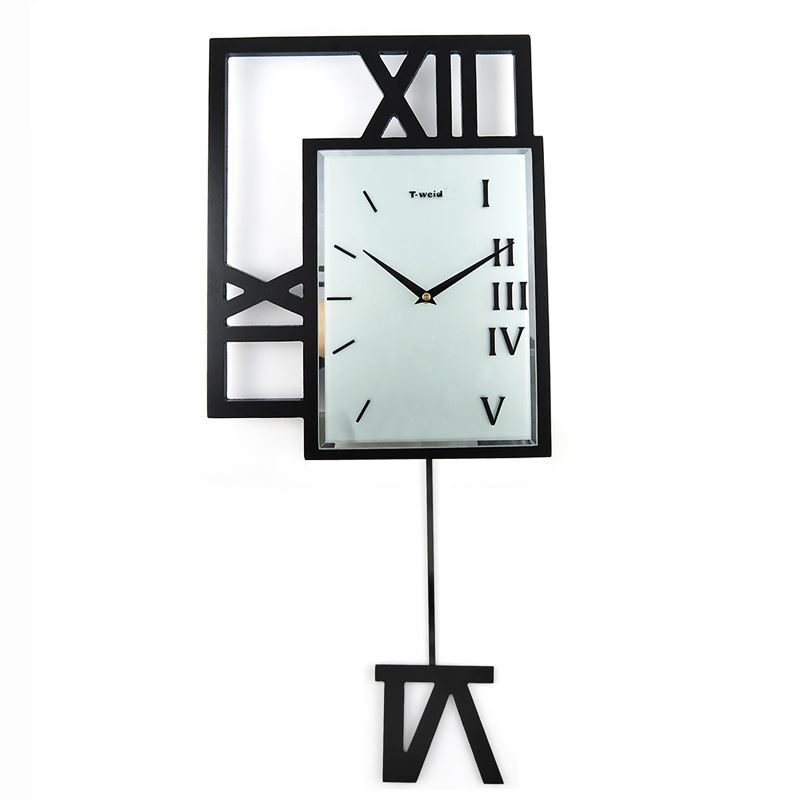 Home Decor Decorative Clocks Modern Wall Clock Contemporary Simple Wooden Black Pendulum
