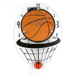 Contemporary Simple Glass Basketball Mute Non-ticking Wall Clock