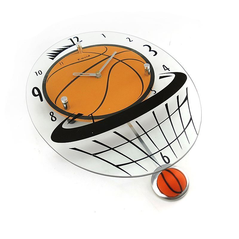 home decor decorative clocks modern wall clock simple glass basketball mute non