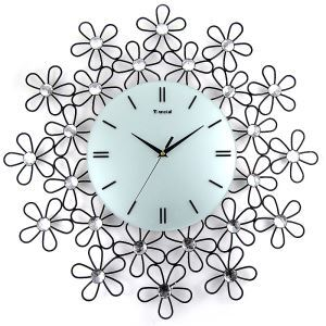 Contemporary Simple Wrought Iron Black Acrylic Diamond Mute Non-ticking Wall Clock