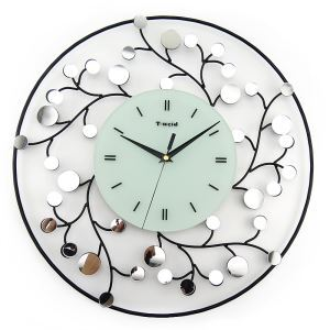 Modern Simple Wrought Iron Round Mute Wall Clock Non-ticking