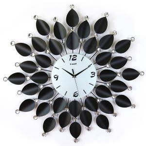 Modern Simple Wrought Iron Black Acrylic Diamond Leaf Mute Wall Clock