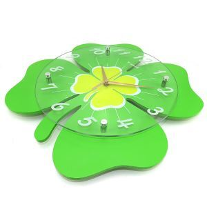 Modern Simple Glass Leaf Kids' Mute Wall Clock