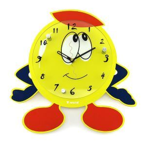 Modern Simple Glass Animal Cartoon Mute Wall Clock Non-ticking