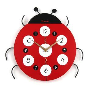 Modern Simple Cartoon Glass Ladybird Mute Wall Clock Non-ticking