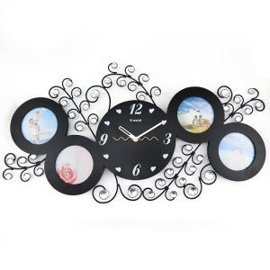Modern Simple Wrought Iron Acrylic Diamond Frame Mute Wall Clock Non-ticking