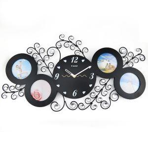 Modern Simple Wrought Iron Acrylic Diamond Frame Mute Wall Clock Non-ticking