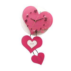 Modern Simple Glass Heart-shaped Mute Wall Clock