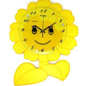 Modern Simple Glass Sunflower Kids' Mute Non-ticking Wall Clock