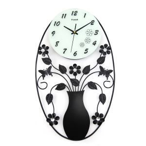 Modern Simple Wrought Iron Vase Mute Wall Clock