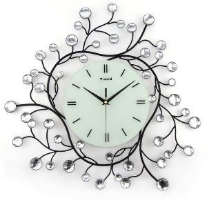 Contemporary Simple Wrought Iron Acrylic Diamond Mute Wall Clock Non-ticking