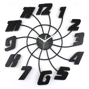 Simple Wrought Iron Black Mute Digital Wall Clock