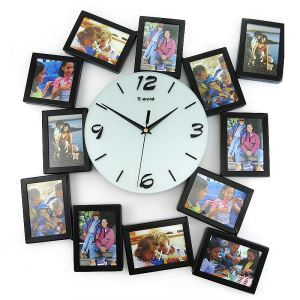 Simple Glass Creative Black Frame Mute Wall Clock