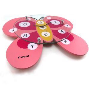 Modern Cartoon Glass Pink Butterfly Mute Non-ticking Wall Clock for Kids