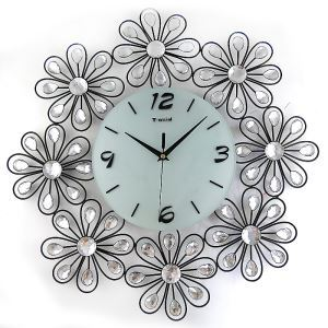Modern Simple Wrought Iron Acrylic Diamond Mute Wall Clock Non-ticking