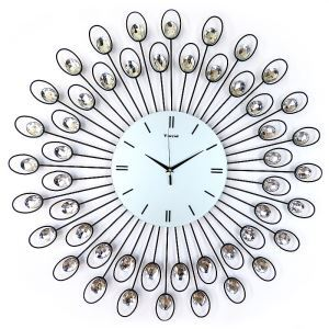 Contemporary Wrought Iron Acrylic Diamond Mute Wall Clock