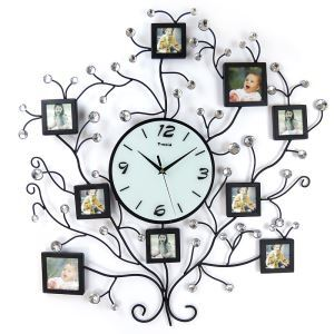 Simple Wrought Iron Black Creative Frame Mute Non-ticking Wall Clock