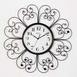 Contemporary Wrought Iron Black Mute Wall Clock Non-ticking