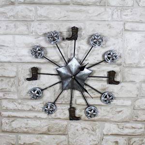 American Country Vintage Wrought Iron Antique Silver Cowboy Mute Non-ticking Wall Clock