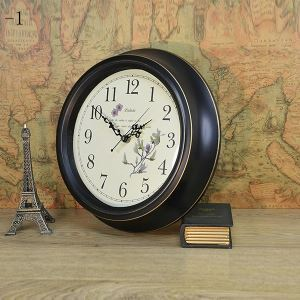 Vintage European Metal Mute Non-ticking Wall Clock Round