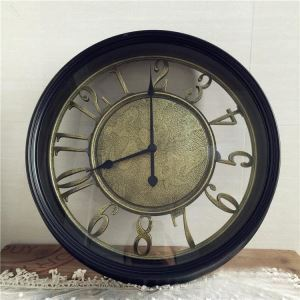 Vintage European Imitateded Wrought Iron Black Round Mute Wall Clock