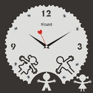 Modern Fashion Creative Acrylic White Mute Wall Clock Boy Girl