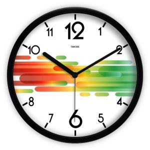 Fashion Simple Metal Abstract Colorful Horizonal Stripe Mute Wall Clock Round