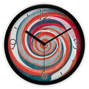 Trendy Metal Colorful Abstract Painting Round Mute Wall Clock