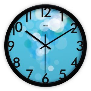 Simple Metal Abstract Blue Round Mute Wall Clock