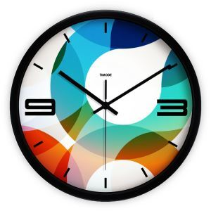 Creative Fashion Metal Abstract Colorful Circles Round Mute Wall Clock