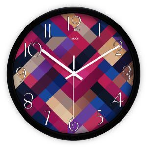 Simple Metal Abstract Plaid Round Mute Wall Clock