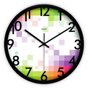 Fashion Metal Abstract Plaid Round Mute Wall Clock