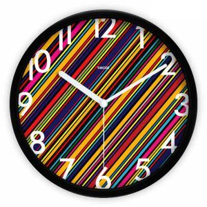 Fashion Metal Abstract Colorful Plaid Round Mute Wall Clock