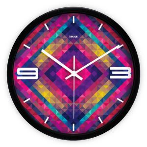 Modern Metal Abstract Colorful Plaid Round Mute Non-ticking Wall Clock