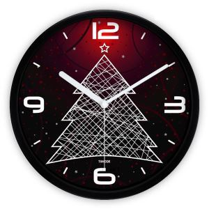 Abstract Simple Metal Creative Christmas Tree Round Mute Wall Clock