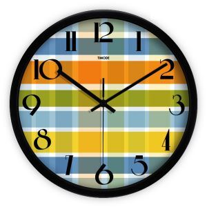 Modern Simple Metal Abstract Colorful Plaid Round Mute Wall Clock